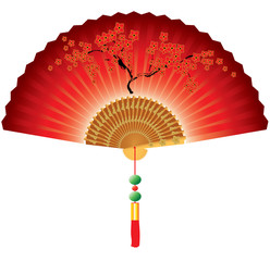Red chinese fan isolated