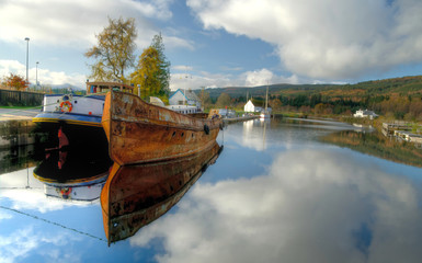 old boats on Caledonian Channel, Scotland