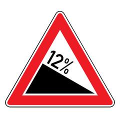 Papier Peint - Verkehrsschild - Gefälle 12%