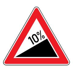 Papier Peint - Verkehrsschild - Steigung 10%
