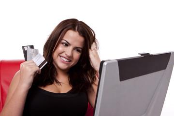 Buying online using eCommerce.