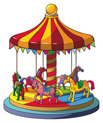Children carousel with colorful horses, vector