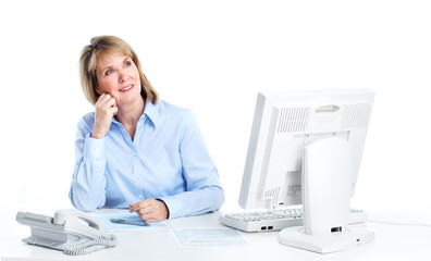 Smiling business woman at a modern office.