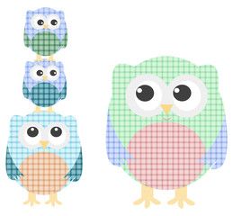 cute owl family isolated on white