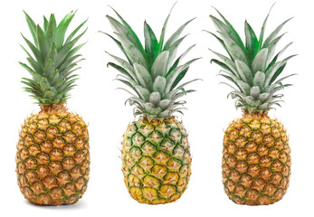 Set of Pineapple isolated on the white background.