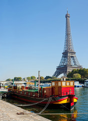 View of a living barge on the Seine in Paris