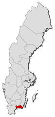 Map of Sweden, Blekinge County highlighted