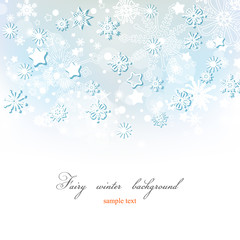 Fairy winter background, gray blue snowflakes pattern