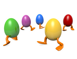 Colorful dancing Easter eggs, 3D image