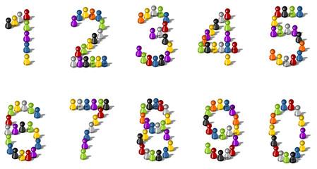 Zahlen aus Spielfiguren vektor set