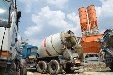 Industrial photos of cement truck  atcement silo  yard