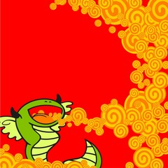 New year's greeting card with a dragon