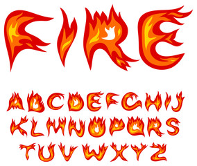 Vector red flame alphabet on a white background