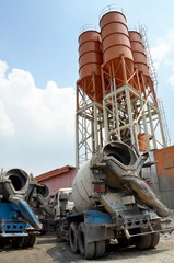Cement Truck at cement silo yard