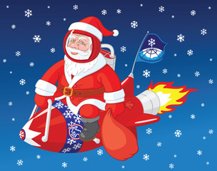 Christmas character Santa Claus flies on the rocket