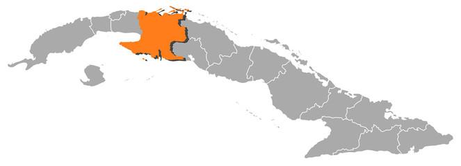 Map of Cuba, Matanzas highlighted