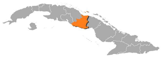 Map of Cuba, Sancti Spíritus highlighted