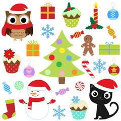 Christmas vector cute elements set