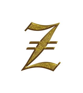 Z - Alphabet en or - Lettrine