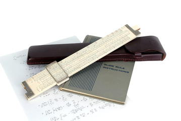 slide rule with instruction book and case