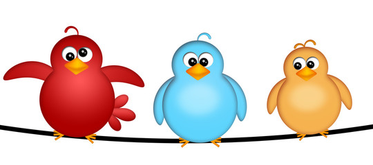 Three Birds on a Wire Illustration