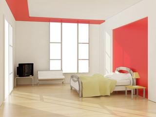 interior of modern bedroom. 3D illustration