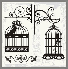 Vintage Bird Cages with Ornamental Decorations