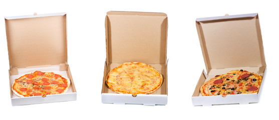Wall Mural - set with different pizza in open paper box