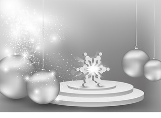 3D Snowflake on podium concept background