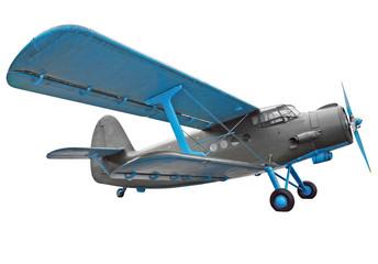 Old biplane isolated