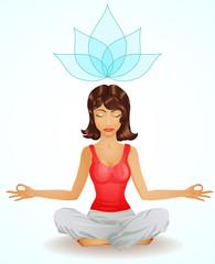 Beautiful brunette girl in meditation position