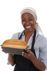 Smiling African Lady with Bread