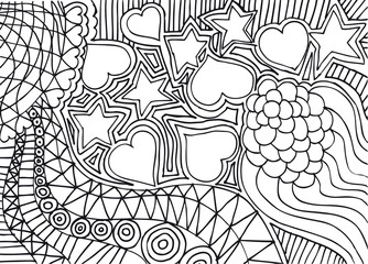Hand drawn abstract valentine background. vector illustration