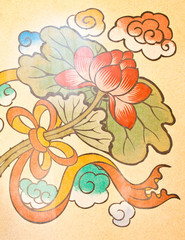 Art Chinese style painting on the wall in temple,Thailand.Genera
