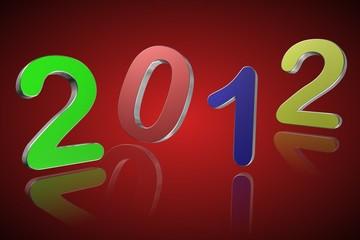 2012 sur fond rouge