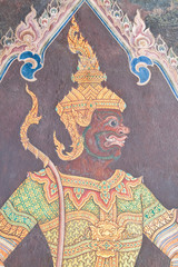 Traditional Thai style painting art on temple wall at Watphrakae