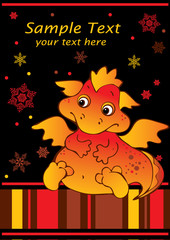 New Years card with baby dragon.