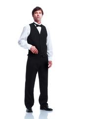 Smiling handsome waiter man.