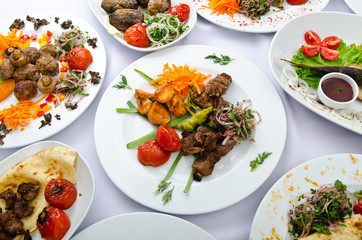 Meals served on a party table