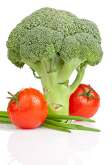 Broccoli, Two Tomato with drops and Fresh Scallions Isolated on