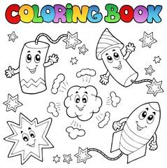 Poster Voor kinderen Coloring book fireworks theme 1