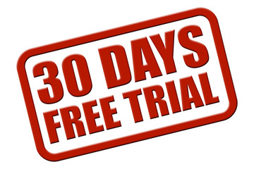 Stempel rot rel 30 DAYS FREE TRIAL