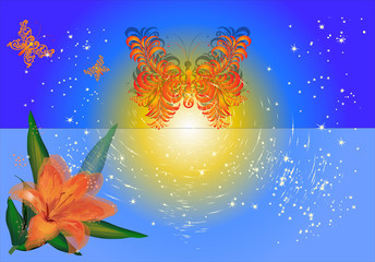 orange lily and stylized butterflies