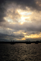 View of St. Petersburg. Trinity Bridge at cloudy sunset