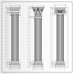 Classic columns sketch, vector