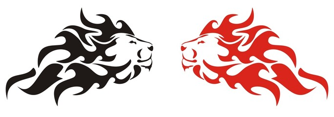 Flaming lion. Black and red variants