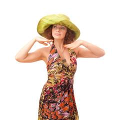 redhead in a green straw hat