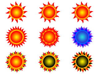 symbols of sun on a white background