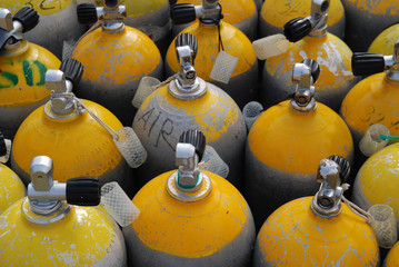 Oxygen Tanks for Scuba Diving.