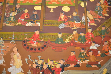 temple-wall's painting represent Thai old ceremony (Historic)